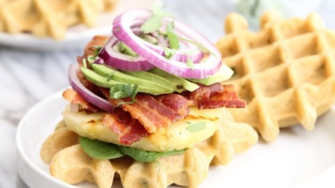 Bacon, Grilled Pineapple and Jalapeno Waffle Sliders