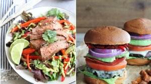 Fajita Steak Salad and Italian Club Burger