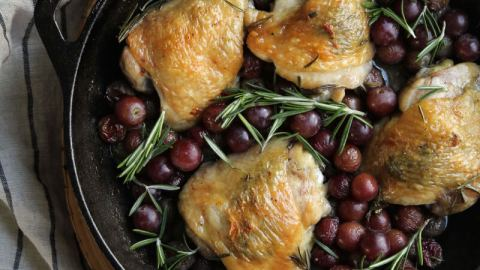 Rosemary and Garlic Chicken with Roasted Red Grapes