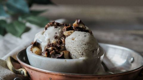 Vanilla Almond Butter Ice Cream with Dark Chocolate Banana Bark