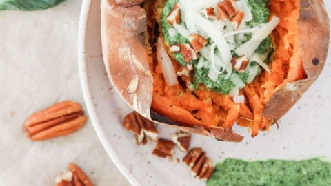 Baked Sweet Potatoes with Tatsoi Pesto