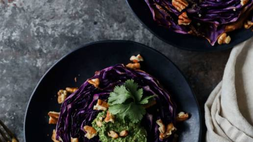 Red Cabbage Steaks with Cilantro Pesto