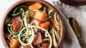 Balsamic Chicken Zoodle Soup