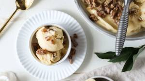Peach Banana Nice Cream with Caramelized Pecans