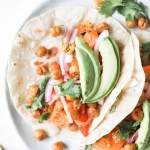 Vegan Tomatillo Sweet Potato and Chickpea Tacos