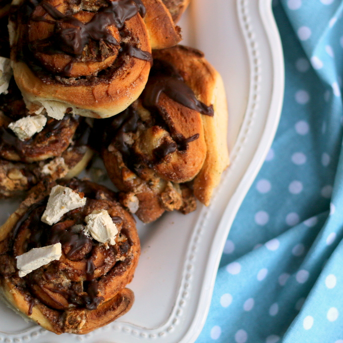 Nougat and Nutella Cinnamon Buns