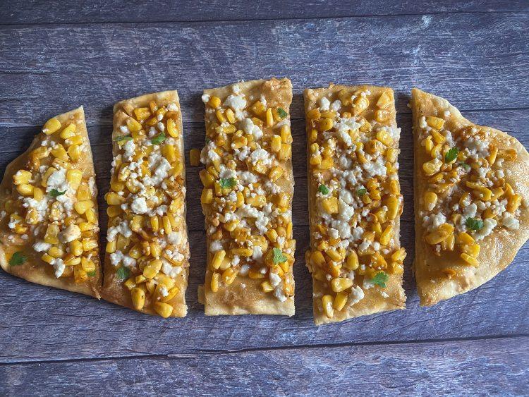 Cut up Mexican Street Corn Flatbread