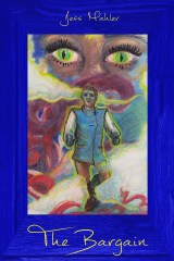 Green cat eyes in a brown face watch a distress white man running through multicolored fog. Image is framed in blue. Gold lettering on the frame reads 'The Bargain' on top and 'by Jess Mahler' on bottom