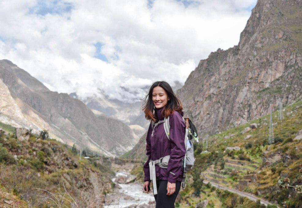 girl hiking the Inca trail to Machu Picchu