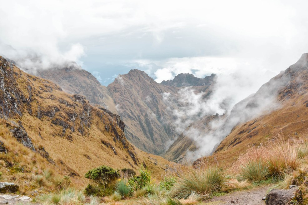 mountain scene at dead woman's pass on the Inca trail to Machu Picchu