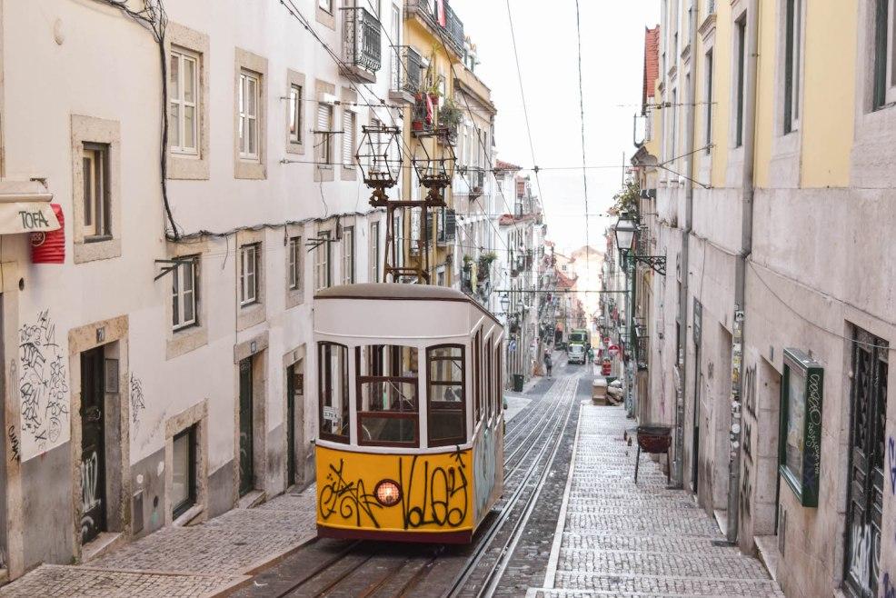ascensor da bica yellow tram in Lisbon Portugal