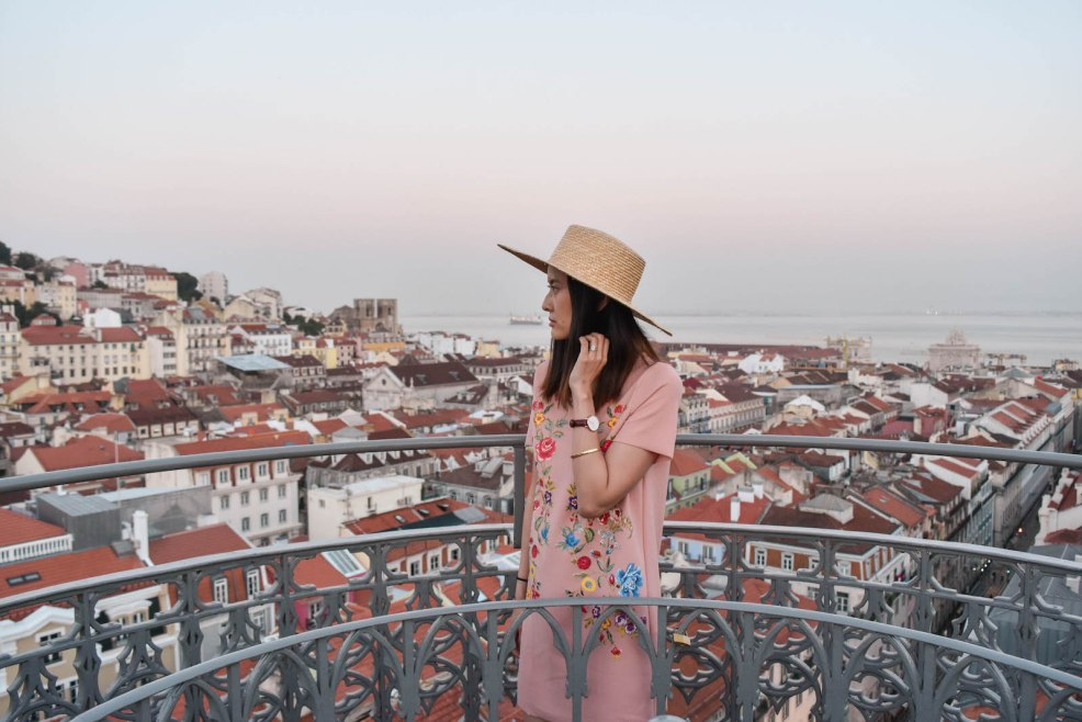sunset view from Santa justa lift in Lisbon portugal