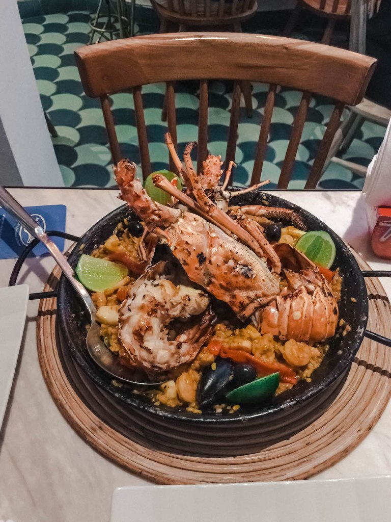 lobster and seafood paella at la cevicheria in cartgagena