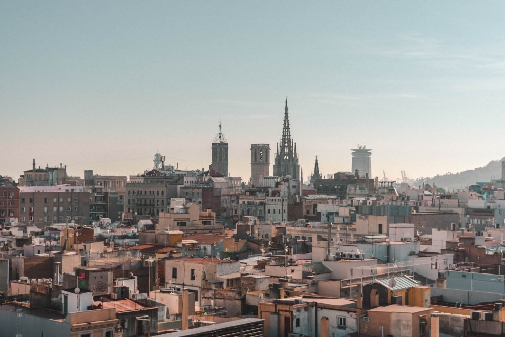 View of Barcelona from Yurbban Trafalgar Hotel rooftop.