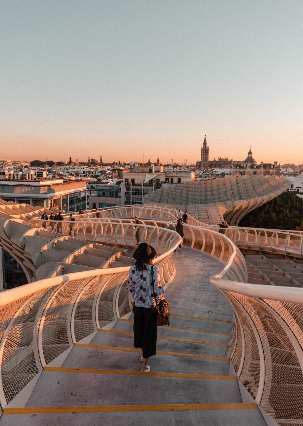 Views of Sevilla from the Metropol Parasol at sunset