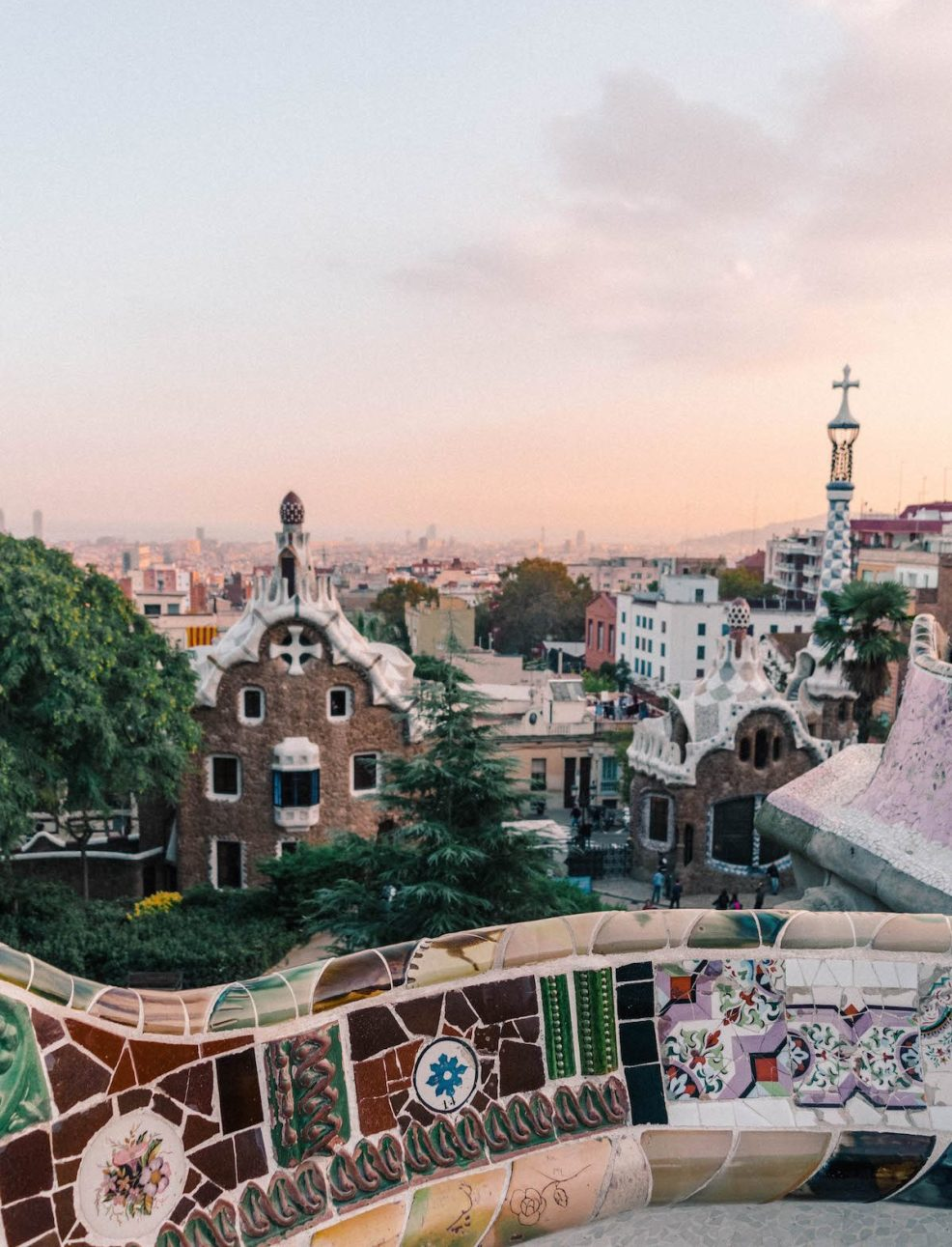 View from Park Guell at sunset