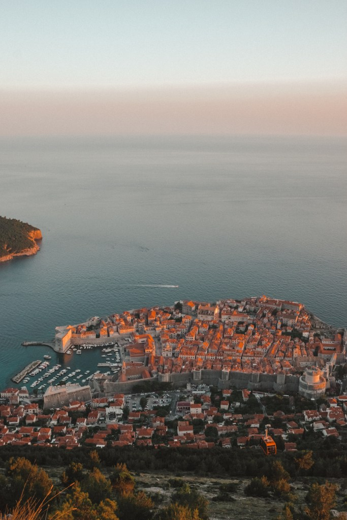 Sunset view of Dubrovnik from Mount Srd.