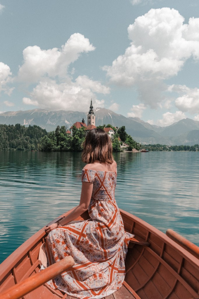 Rowing a boat on Lake Bled