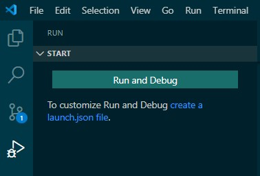 run and debug window in VSCode