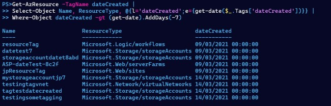 List of resources created in last 7 days in PowerShell