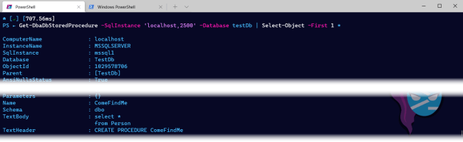 Select all the properties from Get-DbaDbStoredProcedure