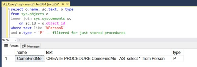 T-SQL code to find procedures with 'person' in