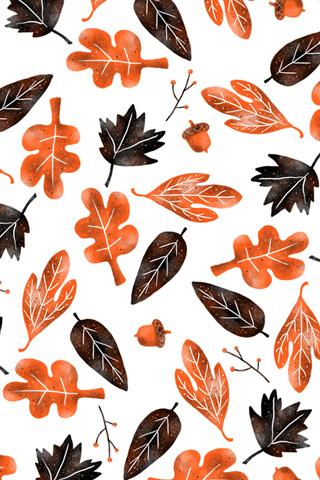 Design Love Fest Wallpaper Fall かわいい 落ち葉のイラスト 【秋の季節】スマホ用ホーム・ロック画面・壁紙画像【シーズン編】 Fall