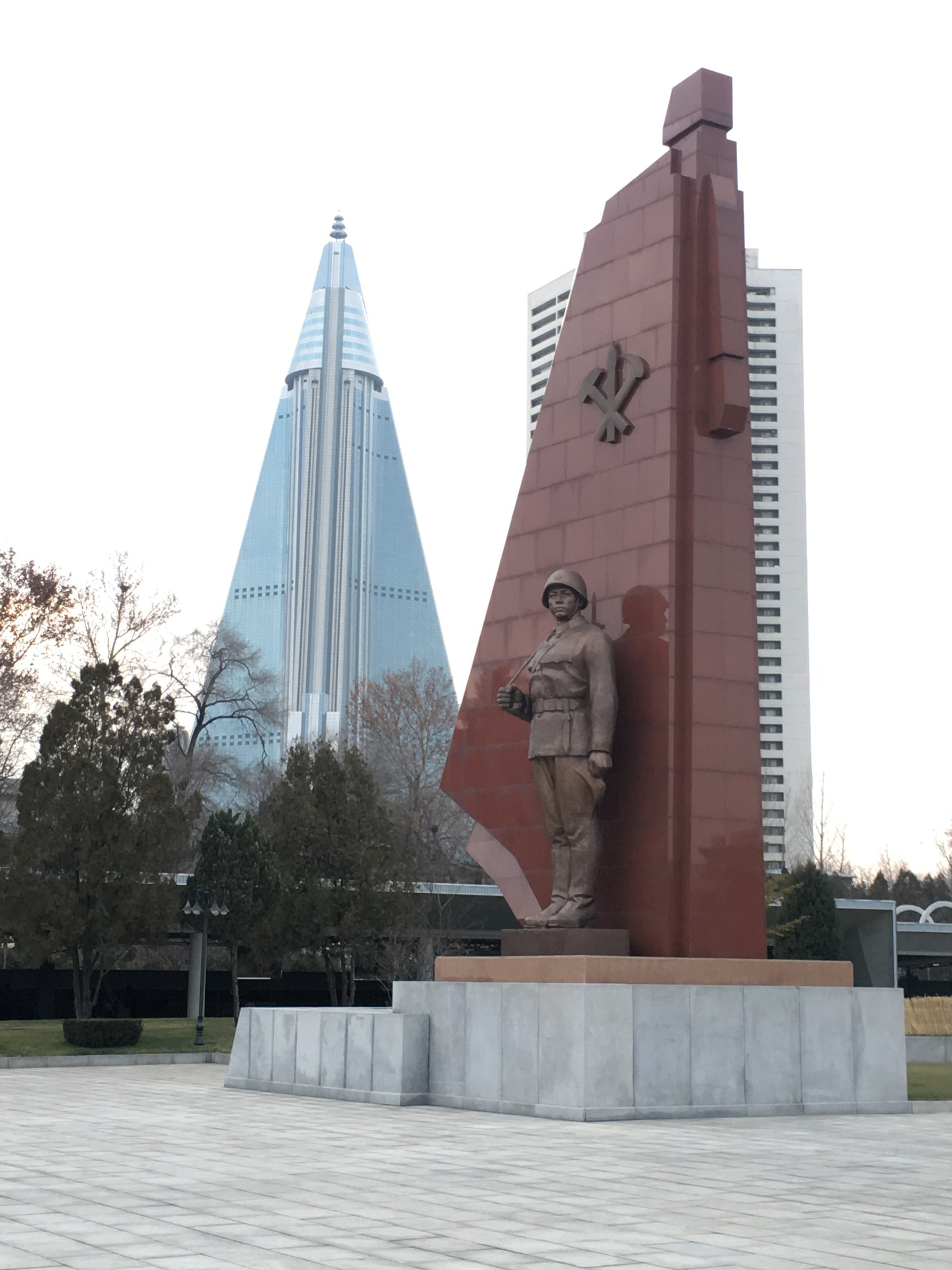 The unfinished Ryugyong Hotel in the background