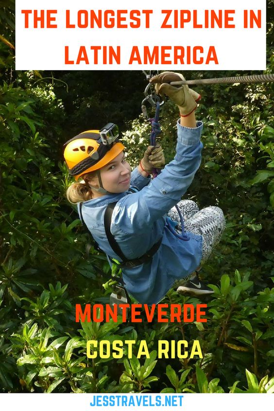 The longest zipline in Latin America! Monteverde, Costa Rica. A travel blog about my experience riding a zipline almost 1 mile long! Includes my ziplining videos and photos and a Tarzan swing video! Click through to see more...