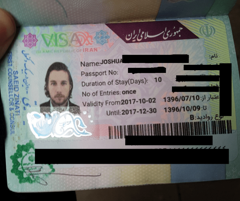 iranian iran visa stamp passport