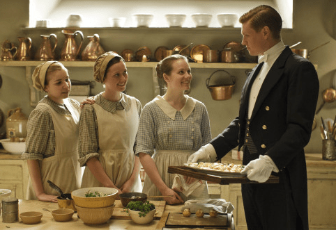 downton abbey maids maid kitchen itv