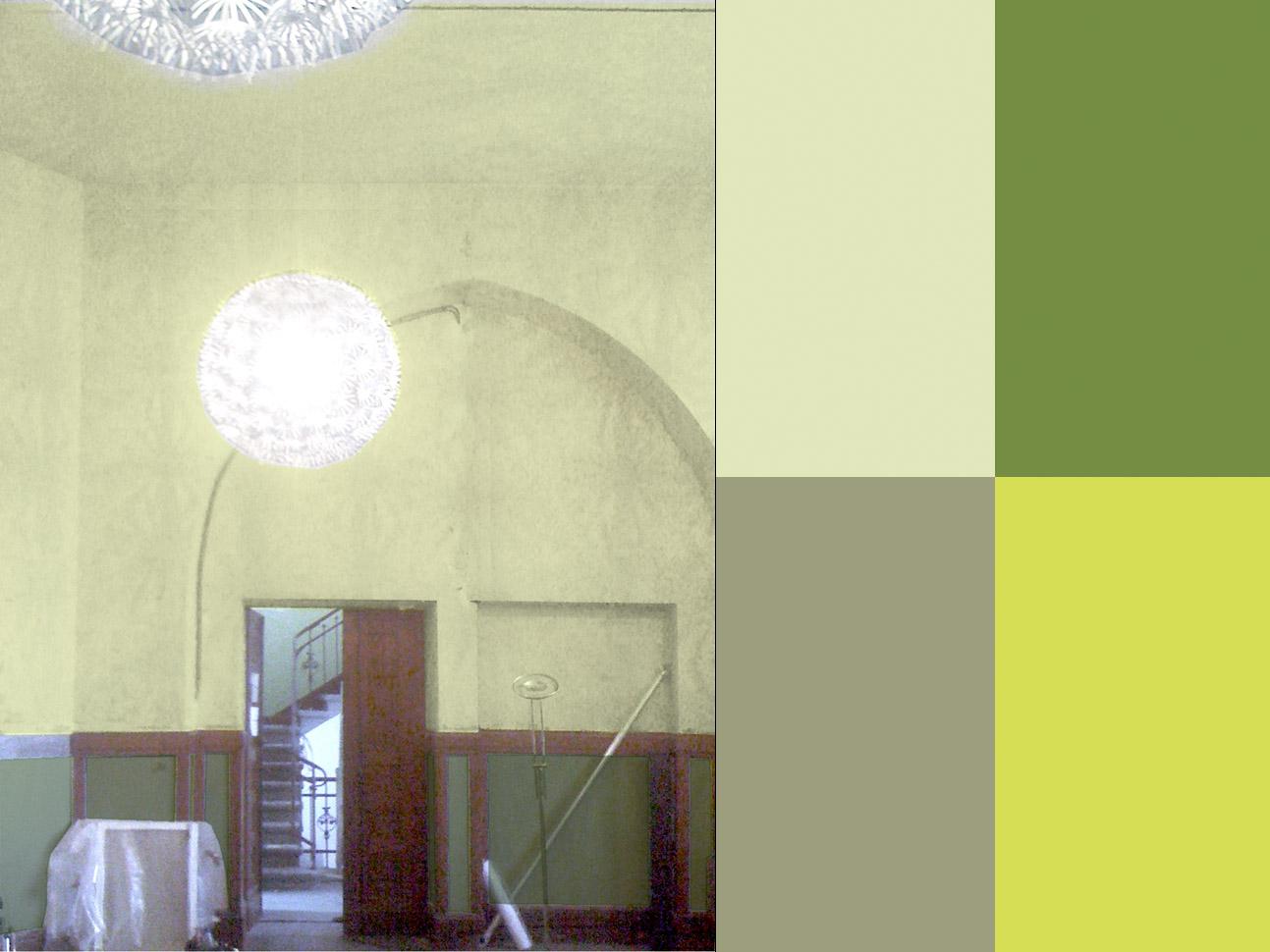 Turmzimmer mit Farbvorschlag Wandfassung und Möblierung