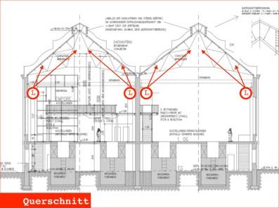 Querschnitt Maschinenhalle und Fundamentgeschoss