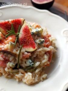 Risotto z figami, szynką i gorgonzolą
