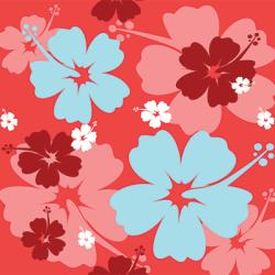 chemise hawaienne motif rouge fleur