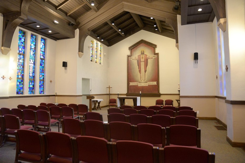 The chapel of the Arrupe Retreat House. There is a Sacristy to the left and small Blessed Sacrament chapel to the right.