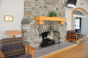The fireplace on the main floor.