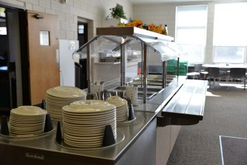 A view of the serving line in the dining room.