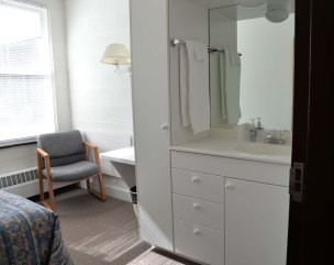 Each room contains a small wash area.