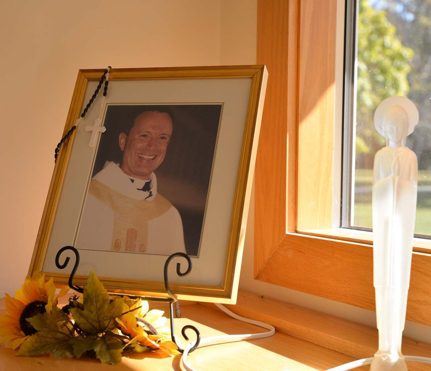 The chapel includes a small audio system with many of Fr. Jim Willig's audio sermons, reflections, and retreat talks.
