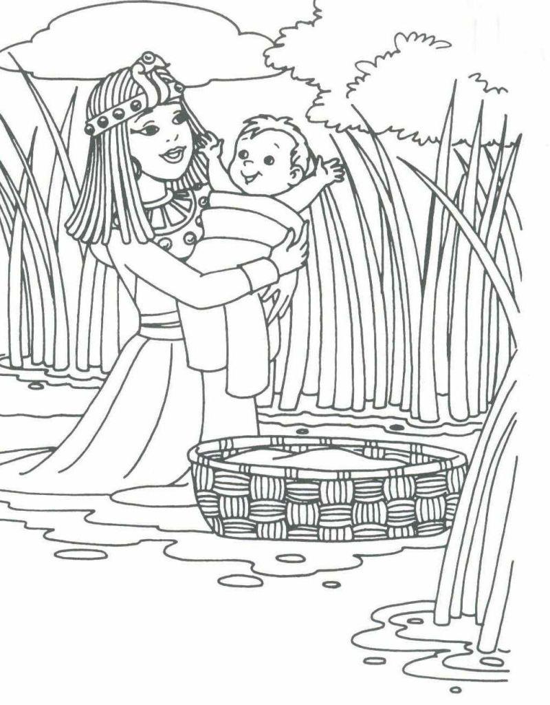 Tegneark for barn med bibeltegninger. Moses og de ti bud