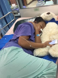Preaw in the hospital with a death grip on her phone in her sleep. We have since taken that away.