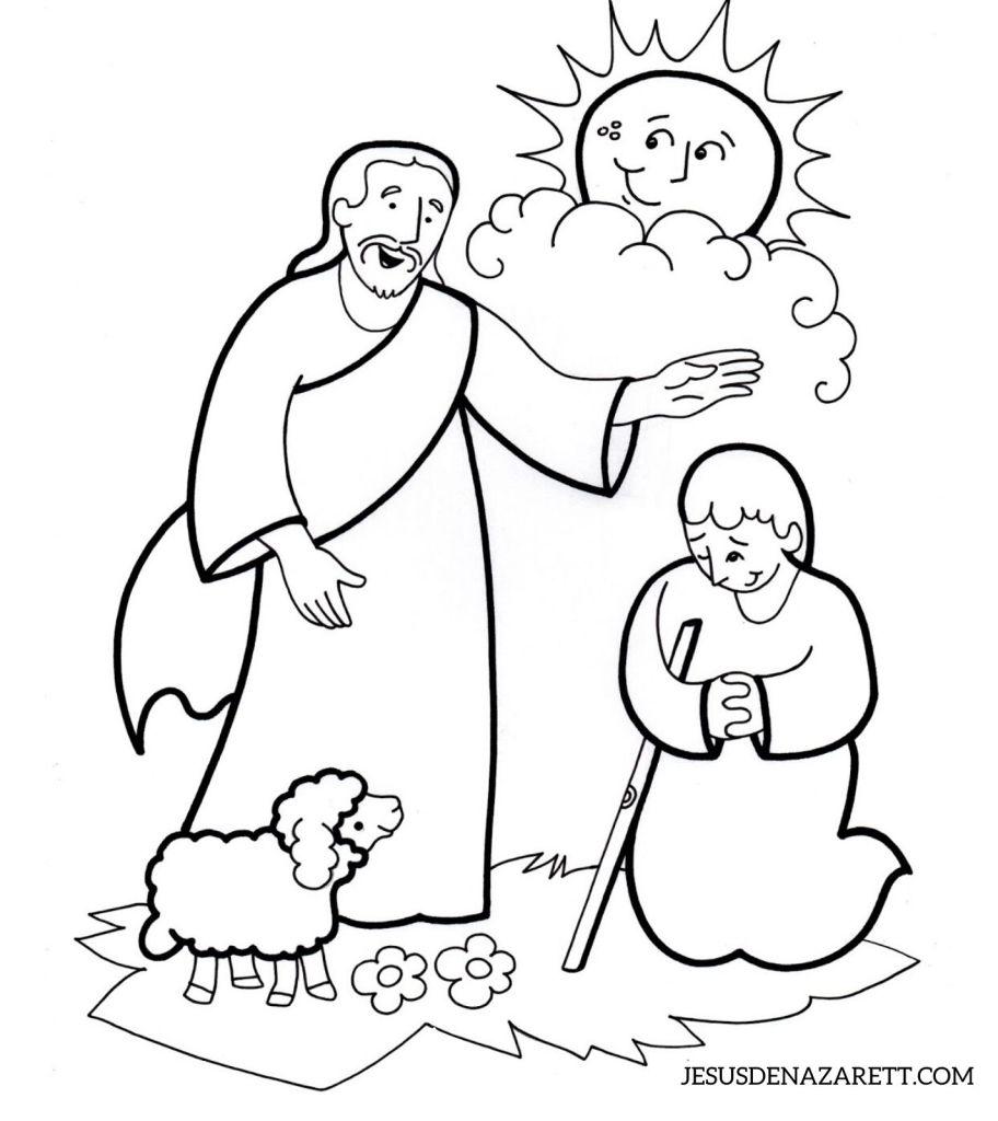 jesus sanando enfermo para colorear
