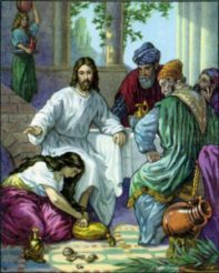 A woman witness at Jesus feet