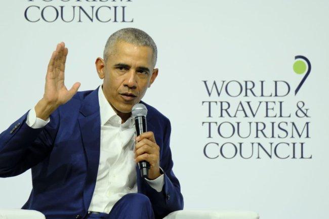 Barack Obama habla durante la conferencia inaugural del WTTC de Sevilla, el 2 de abril de 2019