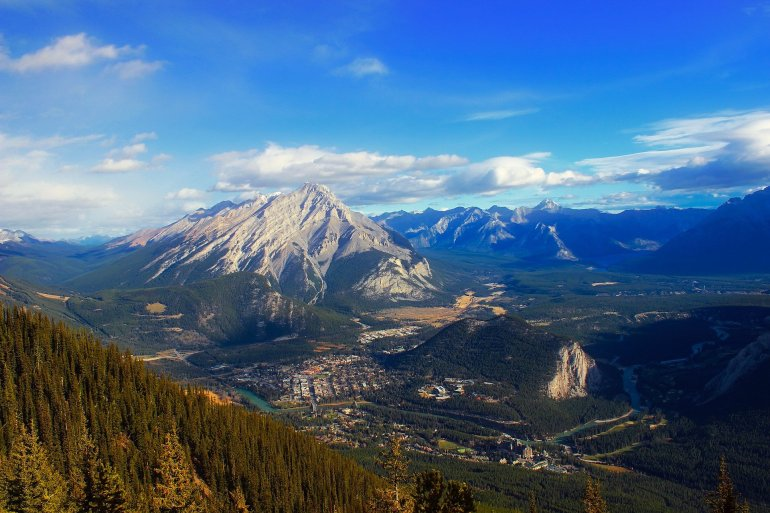 A panoramic view of the town of Banff in Banff National Park.
