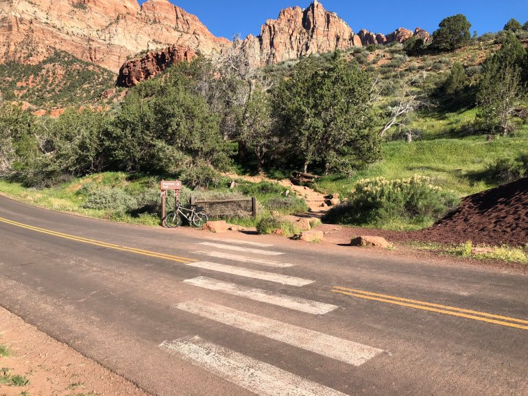 The trailhead at Watchman trail, a popular sunset hike in Zion National Park.