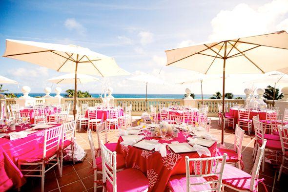 Pink And White Beach Wedding Ideas