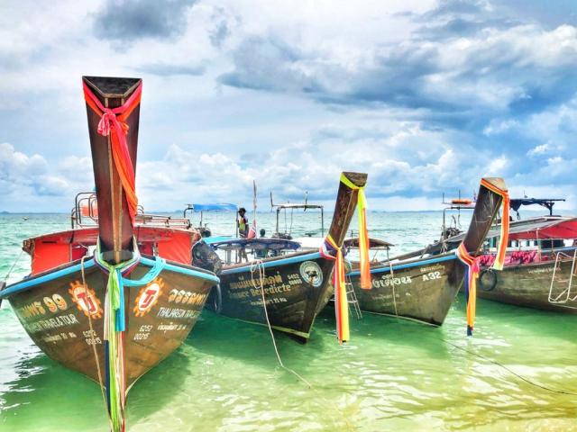Thailand long tail boats of Krabi. The best places to visit in Southeast Asia