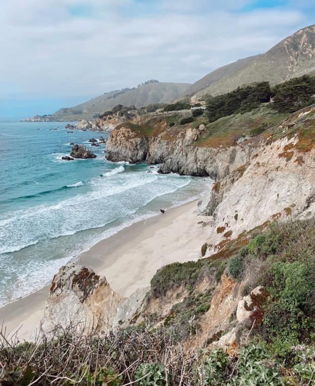 White Sand cliffs and beach below. Destination along the Pacific Coast Highway.